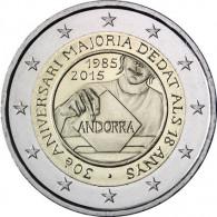 Andorra 2 Euro Münze 2015 bfr. 30 Jahre Volljährigkeit mit 18