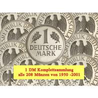 J.385  BRD 1 D-Mark 1950 bis 2001 Komplettangebot 208 Münzen