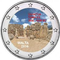 Malta 2 Euro 2016  bfr. Ggantija  mit Farbapplikation