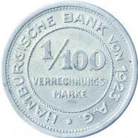 N 35 -  1/100 Verrechungsmarke Hamburger Bank 1923