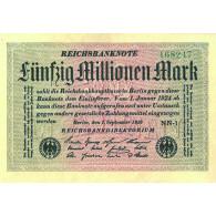 Banknote Inflation  50 Millionnen Mark 1923