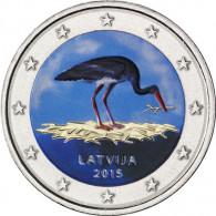 2 Euro Lettland 2015 Schwarzstorch in Farbe