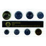 DDR Mini Jahressatz 1990 7 Münzen 1 Pfg. bis 2 Mark und eine Medaille: Plutus