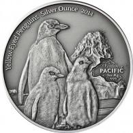 1 Oz Silbermünze Gelbaugen Pinguine - Tokelau Antique Finish Serie 2014