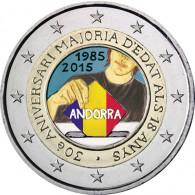 Andorra 2 Euro 2015 Stgl. 30 Jahre Volljährigkeit mit 18 FARBE