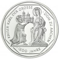 Deutschland 10 DM Silber 2000 Stgl. Karl der Grosse und der Dom zu Aachen