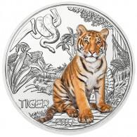Tiger Tier Taler Serie 3 Euro Münze Österreich 2017