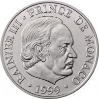 Monaco 100 Frans Silbergedenkmünzen 1999 Fürst Rainier III