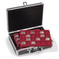 Münzkoffer CARGO S6  für 2-Euro-Münzen Schwarz mit roten Einlagen Leuchtturm Zubehör 360209