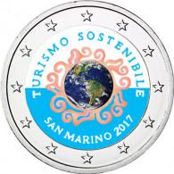 San Marino 2 Euro Gedenkmünze 2017 Jahr des Nachhaltigen Tourismus mit Farbmotiv