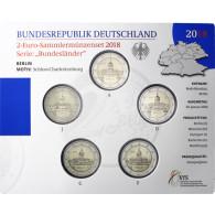 Deutschland 5 x 2 Euro 2018 stgl Charlottenburg - Berlin Mzz: A - J im Folder
