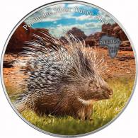 1 Oz Silbermünzen Stachelschwein in Farbe