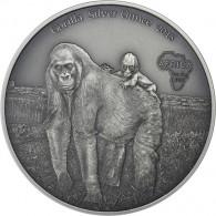 Silbermünzen Gorilla mit Baby - Antique Finish