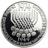 Deutschland 5 DM Silber 1974 PP 25 Jahre Grundgesetz in Münzkapsel