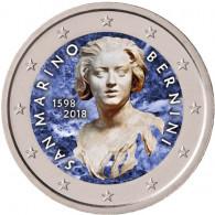 San Marino 2 Euro 2018  Stgl. 420. Geb. von Gian Lorenzo Bernini in FARBE