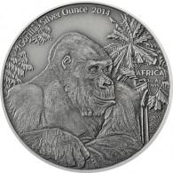 Silbermünzen 2014 Antique Finish - Gorilla