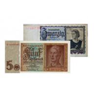 Banknoten 5 Reichsmark  Jünglingskopf 1942 und  20 Reichsmark  junge Österreicherin 1939