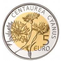 Luxemburg 5 Euro 2016 PP Flora und Fauna  Kornblume im Folder