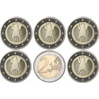 Deutschland 2 Euro Kursmünzen 2010 mit dem Bundesadler
