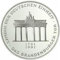 Deutschland 10 DM Silber 1991 stgl. Deutsche Einheit, Brandenburger Tor