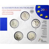 Deutschland 5 x 2 Euro 2018 stgl. Helmut Schmidt im Folder