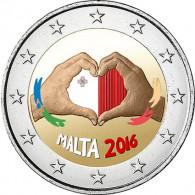 2 Euro Münze aus Malta 2016  Serie Kindern mit Solidarität Liebe in FARBE