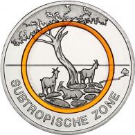 Neue 5 Euro Münze 2018 Subtropische Zone - Deutschland - Klimazone der Erde Polymerring Orange