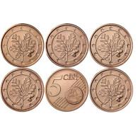 Deutschland 5 Euro-Cent 2019 Kursmünzen mit Eichenzweig