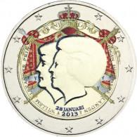 2 Euro Gedenkmünze von 2013 Niederlande Thronwechsel mit Farbe veredelt