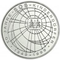 Deutschland 10 DM Silber 1999 Stgl. 50 Jahre SOS Kinderdörfer