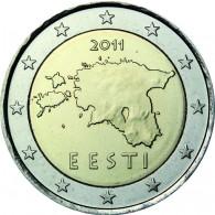 Estland 2 Euro 2011 Kursmünze bfr. Landkarte