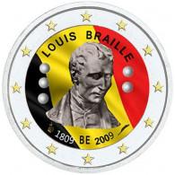 Belgien 2 Euro 2009 Louis Braille Gedenkmünze mit Farbmotiv bestellen ✓ Münzkatalog bestellen