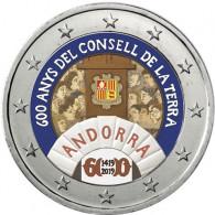 2 Euro Sondermünzen 600 Jahre Generalrat der Täler mit Farbmotiv aus Andorra