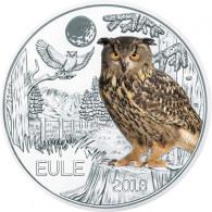Österreich 3 Euro Tier-Taler 2018 mit Farb-Motiv EULE Papagei