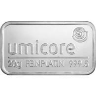 Platinbarren 20 g 999.5 UMICORE