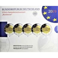 Deutschland 5 x 2 Euro 2019 PP 70 Jahre Bundesrat Mzz: A - J im Folder