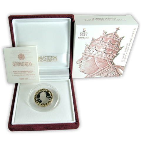 Vatikan 5 Euro 2021 500. Todestag Papst Leo X PP I_shop