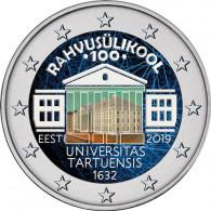 Estland 2 Euro 2019 bfr. 100. Jahrestag der Gründung der Universität Tartu in FARBE