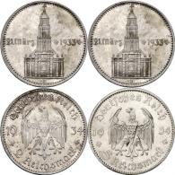 Drittes-Reich-2-Reichsmark-und-5-RM-1934-Ganrnisonskirche-mit-Datum