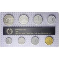 DDR  Mini Jahressatz 1989 7 Münzen 1 Pfg. bis 2 Mark und eine Medaille: Prägen