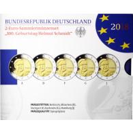 2 Euro Komplettsatz 2018 Helmut Schmidt Polierte Platte im Folder der VFS