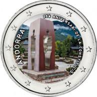 Andorra 2 Euro Gedenkmünze 2018  25-jähriges Jubiläum Verfassung Andorra mit Farbmotiv