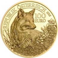 Östereich 100 Euro 2016 Gold  PP Fuchs - Unseren Wildtieren auf der Spur