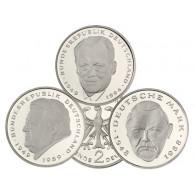 Deutschland  2 Deutsche Mark Münzen Jahrgang  2000 Willy Brandt, Ludwig Erhard, Frank J. Strauss