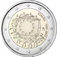 2 Euro Muenzen Spanien 2015 EU Flagge