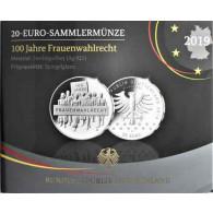 20 Euro Gedenkmünze 2019 Silber  PP 100 Jahre Frauenwahlrecht im Folder