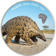 Münze aus Ghana 5 Cedis 2019 Antique Finish Pangolin/Schuppentier in Farbe bestellen