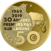 50 Jahre Mondlandung 50 Euro Gedenkmünze 1/4 Oz Gold  aus Frankreich 2019  1st Step on the Moon