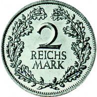 J. 320 Weimar  2 Reichsmark Eichenlaub 1925-26 Silber Sonderpreis