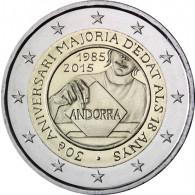 2 Euro Sondermünze Andorra 2015 Volljährigkeit 18